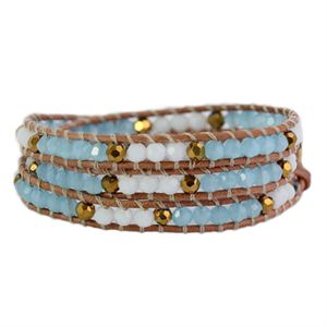 Picture of Pool Blue and Gold Crystal Beaded Wrap
